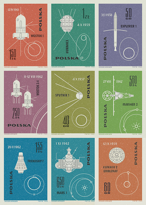 polska space stamps from the